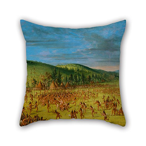 18 X 18 Inches / 45 By 45 Cm Oil Painting George Catlin - Ball-play Of The Choctaw--Ball Up Throw Cushion Covers ,two Sides Ornament And Gift To Wedding,husband,study Room,kids,pub,kids Room -