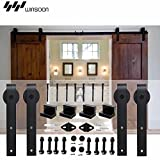 WINSOON Sliding Barn Wood Door Hardware Cabinet Closet Kit Antique Style for Double Doors Black Surface (6.6FT /79.2'' 2 Doors Track Kit)