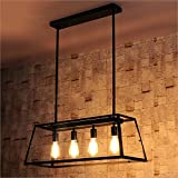 Joypeach 4 Light Nordic Creative Personality Retro Lighting Restaurant Lights Bar style Iron industry Chandelier for Living Room (110V)