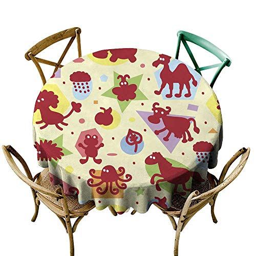 SKDSArts Restaurant Table Cover Seamless Pattern with Funny Cartoon Animal Silhouettes and Geometric Shapes Kids Wallpaper Colorful Background for Kids D65,Tablecloth for Rectangle Table]()