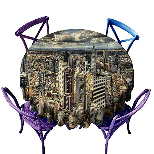 Washable Round Tablecloth,Urban Melbourne Cityscape Modern Australia Architecture Buildings Metropolis Dramatic Sky,Party Decorations Table Cover Cloth,67 INCH,Multicolor -