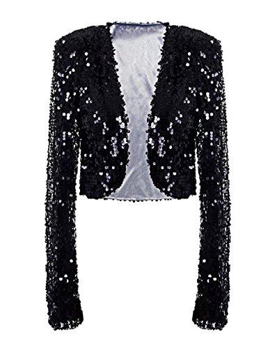 kayamiya Womens Shiny Sequin Long Sleeve Cropped Blazer Bolero Shrug M/US 6-8 Black