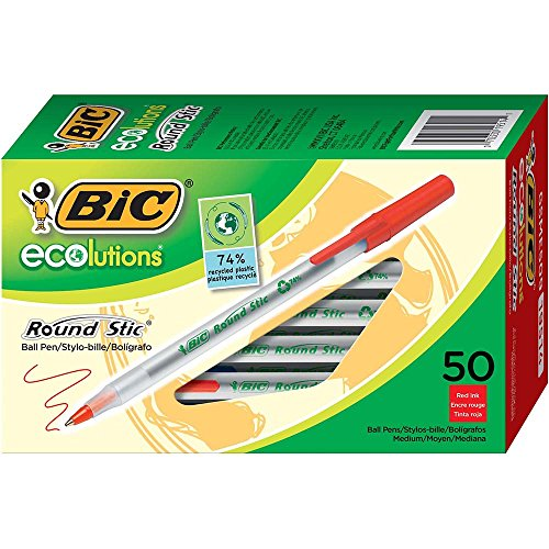 BIC Ecolutions Round Stic Ball Pen, Medium Point (1.0mm), Red, (Ballpoint Pen Red Ink)