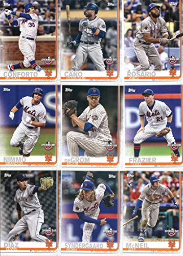 2019 Topps Opening Day Baseball New York Mets Team Set of 9 Cards: Edwin Diaz(#113), Noah Syndergaard(#126), Jeff McNeil(#133), Todd Frazier(#149), Jacob deGrom(#150), Brandon Nimmo(#161), Amed Rosario(#173), Robinson Cano(#188), Michael Conforto(#189)