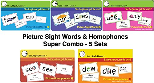 (I See, I Spell, I Learn® Super Combo Picture Sight Words & Picture Homophones Flashcards)