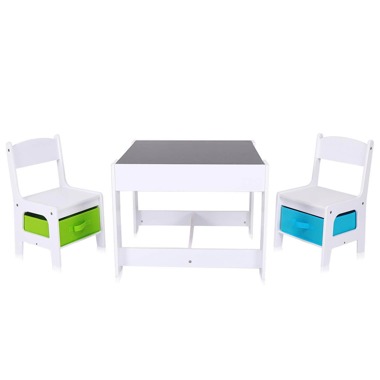 Baby Vivo Set Children's Activity Table with 2 Chairs Furniture Set Boys and Girls made of Wood - Max