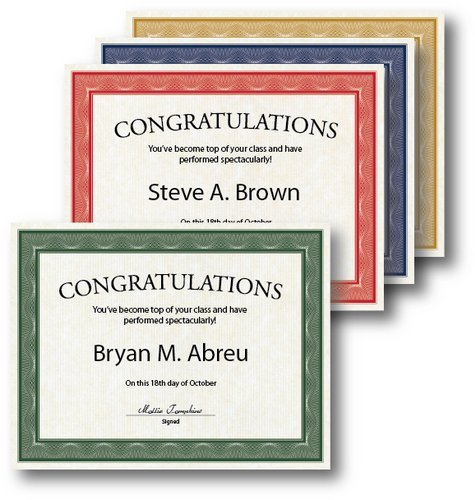 """Geographics Assorted Traditional Card Stock Certificates,8.5 x 11"""", 40/pack (48669)"""