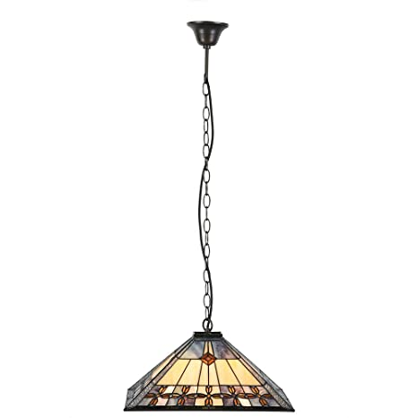 Sulion Medievale Lámpara de techo Tiffany E27, 60 W, Ocre ...