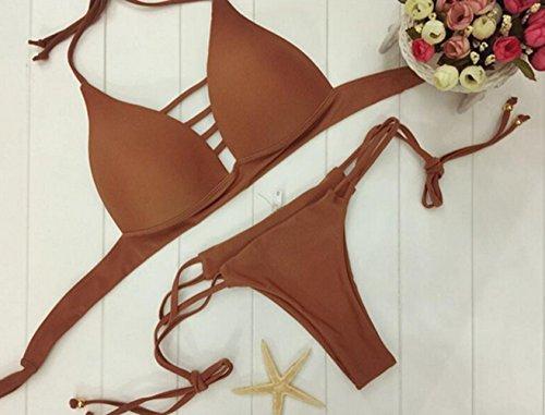 GJ Mujer Traje de Baño Acolchado Bra Push-up Bikini con Cordones Café