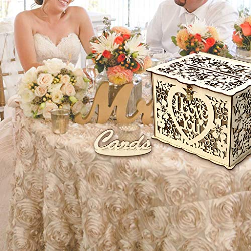 OrchidAmor Wedding Card Box with Lock DIY Money Wooden Gift Boxes for Birthday Party 2019 New Fashion ()