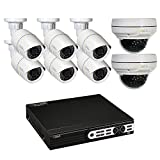 Q-See Surveillance System QT8516-8Z8-2 16-Channel HD IP NVR with 2TB Hard Drive, 8-4MP Security Cameras (White)