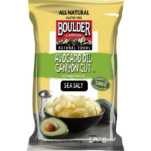 Boulder Canyon Kettle Cooked Potato Chips, Avocado Oil & Sea Salt, 5.25 Ounce (Pack of 12)