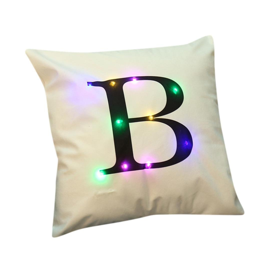 Christmas Stylish Amusing Letter LED Cushion, Y56 Christmas Lighting LED Cushion Cover Home Decor Throw Pillowcase Sofa Flashing (Type A) 5656YAO