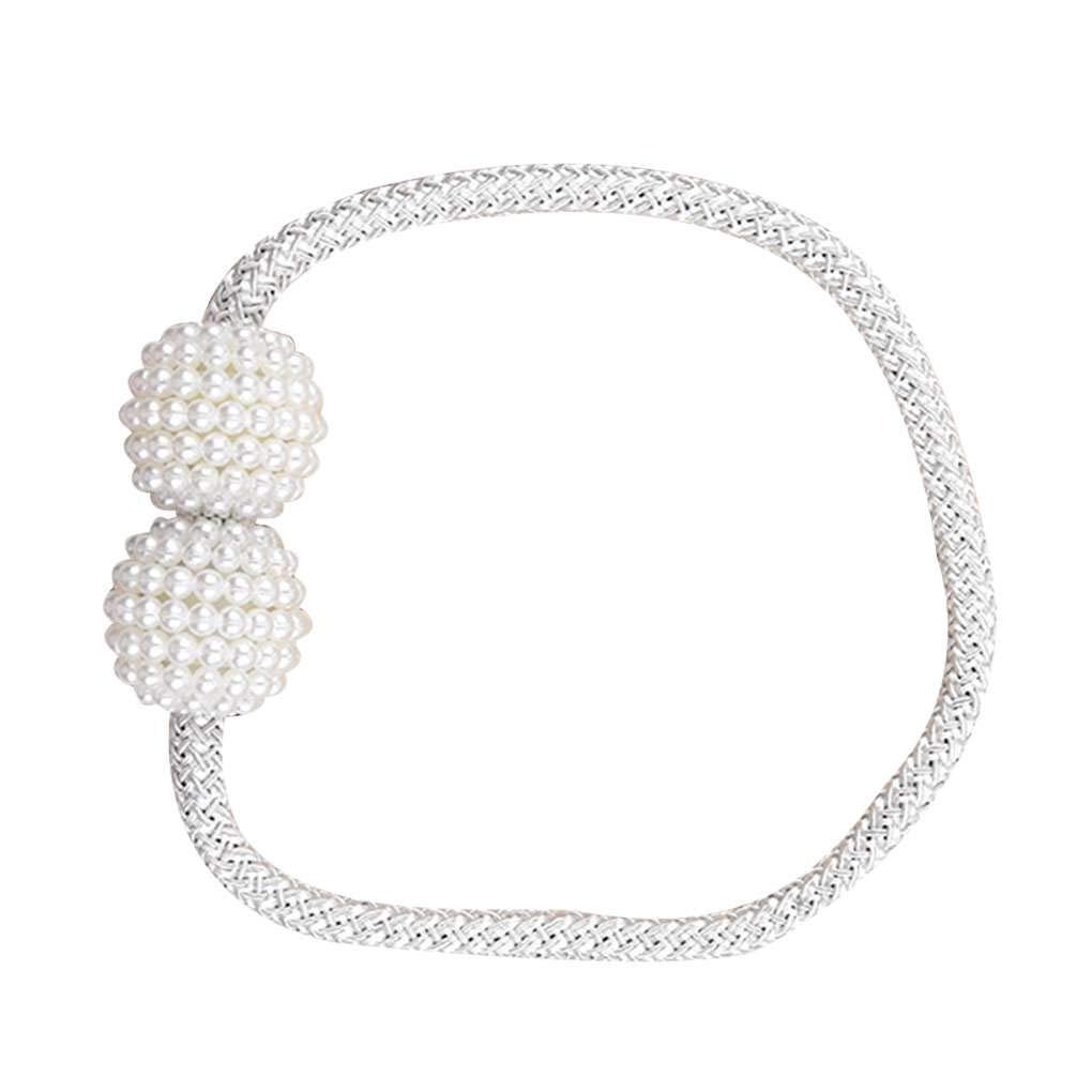 vkospy 1 Paio Perline Perla Rotonda Tende Tieback Magnet Buckle Strap Holder Curtain Magnetica