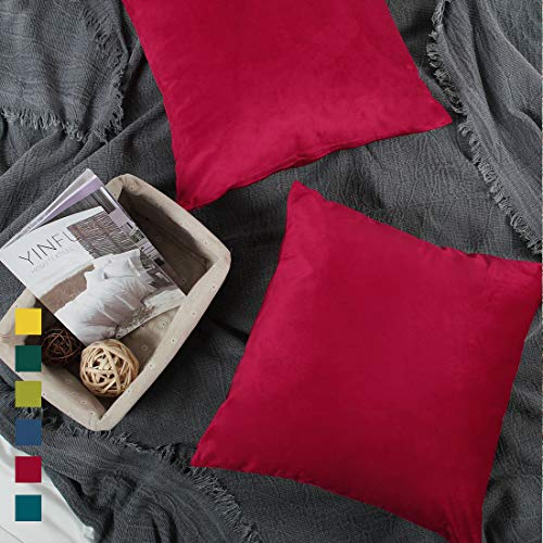 - YINFUNG Red Throw Pillow Covers 18x18 Velvet Bright Ruby Burgundy Square Living Room Couch Sofa Crushed Decorated Festive Holiday Cushion Cover Accent Pillow Cover Wine Dark Red
