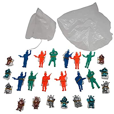 """Forest & Twelfth 1.5"""" Alien Paratroopers & Soldier Paratroopers – Assortment of Airborne Action Figures with Parachutes – Parachute Men Perfect as Party Favors, Stocking Stuffers, & More – Set of 24: Toys & Games"""