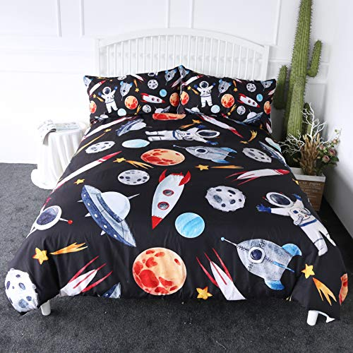 ARIGHTEX Outer Space Bedding Astronaut Rocket Ship Planets Stars Print Bedspread 3 Pieces Boys Space Adventure Duvet Cover Set (Twin) (Robot Duvet Cover Twin)