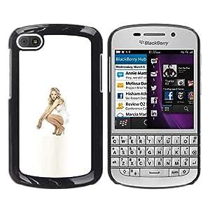 LECELL--Funda protectora / Cubierta / Piel For BlackBerry Q10 -- Muchacha en blanco --