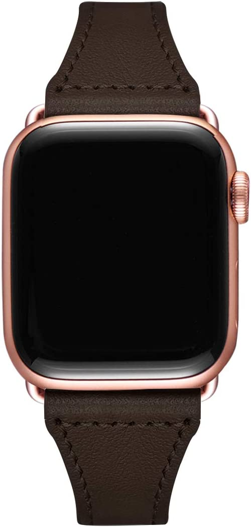 Slim Leather Bands Compatible with Smartwatch 38mm 40mm 42mm 44mm, Genuine Leather Replacement Wristband for Smartwatch Series 5, Series 4/3/2/1 (Coffee+Rose Gold Connector, 38mm 40mm)