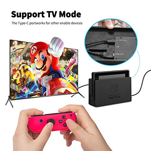 Charger for Switch, Fast Charging AC Adapter Power Supply Replacement for Switch and Switch Lite Supports TV Mode, Type C Wall Charger for Switch