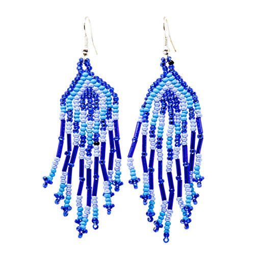9 Strand Beaded Dangle Earrings for Women, Blue - Handmade in Guatemala
