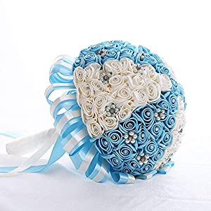 Artificial Flowers Rose Bridal Wedding Bouquets with Bead Flowers and Rhinestone 99