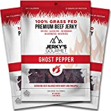 Ghost Pepper Spicy Hot Grass Fed Beef Jerky – 120 Calorie Snacks, Gourmet, Healthy, Soy Free, High Protein & Gluten Free (3 Packs) For Sale