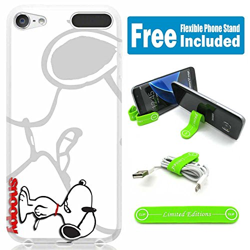 ([Ashley Cases] TPU Skin Cover Case for iPod Touch 5th/6th Generation with Flexible Phone Stand - Snoopy Magniwhite H)