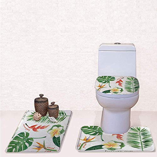 Comfort Flannel 3 Pcs Bath Rug Set,Contour Mat Toilet Seat Cover,Bird of Paradise Palm Leaf and Assorted Exotic Flowers Watercolor Decorative with Coral Earth Yellow Fern Green,Decorate Bathroom,entr Bird Of Paradise Cover