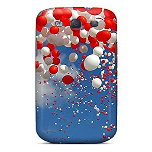 Cynthaskey Case Cover Protector Specially Made For Galaxy S3 Red And White Balloons by icecream design