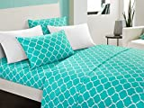 Difference Between King and Cal King Mattress Chic Home Illusion 4 Piece Sheet Set Super Soft Contemporary Geometric Pattern Print Deep Pocket Design - Includes Flat & Fitted Sheets and Bonus Pillowcases, Twin Turquoise