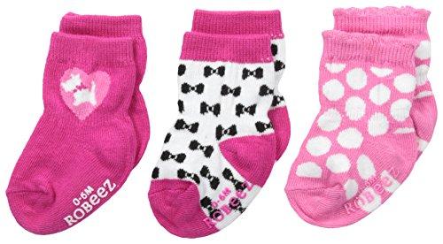 (Robeez Baby Girls' Puppy Love 3 Pack Socks, Pink, 12-24 Months)