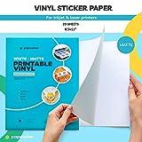 (20 Sheets) Vinyl Sticker Paper for Inkjet Printer