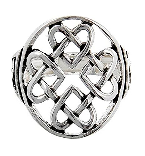 Striking Celtic Linked Hearts Antique Silver Tone Stretch (Heart Stretch Ring)