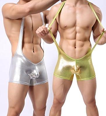Tirain Men Sexy Wrestling Singlet Faux Leather Underwear Lingerie Bodysuit Pant