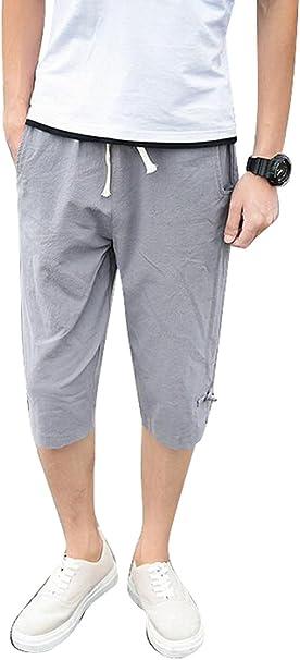 SHOWNO-Men Casual Elastic Waist Solid Wide Leg Loose Cotton Shorts Crop Pants