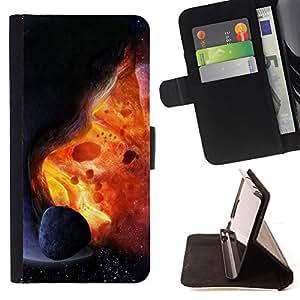 BullDog Case - FOR/Apple Iphone 4 / 4S / - / Space Planet Galaxy Stars 26 /- Monedero de cuero de la PU Llevar cubierta de la caja con el ID Credit Card Slots Flip funda de cuer