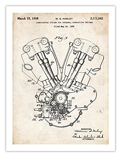 Harley Davidson Motorcycle Knucklehead Engine Poster 1936 Patent Art Handmade Gicl?e Gallery Print Parchment