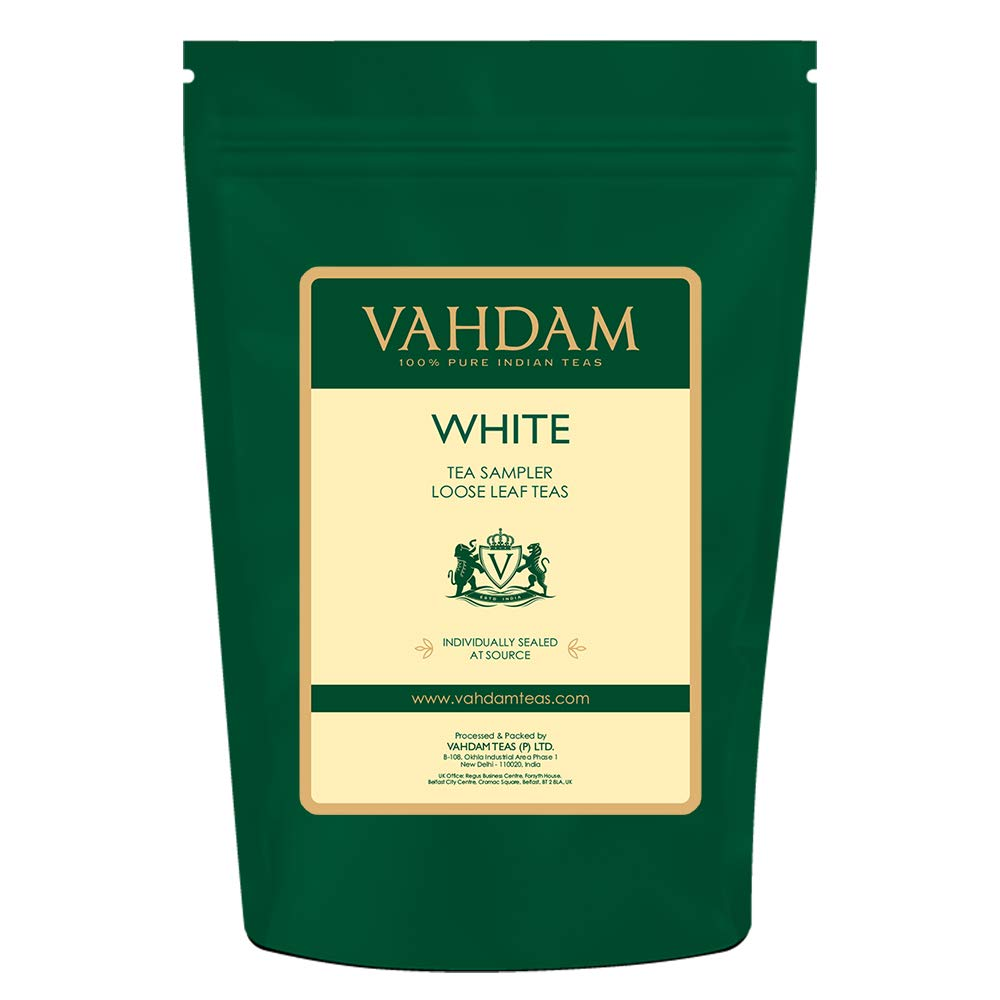 VAHDAM, White Tea Loose Leaf Sampler | 5 TEAS - Himalaya White Tea, Silver Needle White Tea, Blue Mountain White Tea, Pearl Darjeeling White Tea Leaves - WORLD'S HEALTHIEST TEA | (25 Cups, 50g)