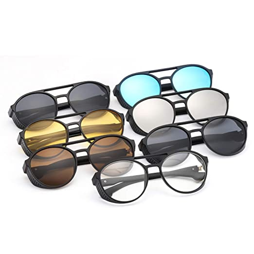 Yangjing-hl Tendencia Retro Gafas de Sol Redondas Moda ...