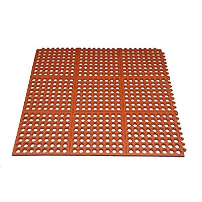 Hefty Mat interlock rubber mat, Large kitchen Matting for Senior hotel kitchen,Bath,Workshop,and other area, Red, 3 feet ×3 feet ×1/2 inch