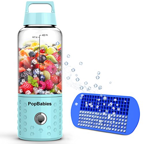 Smoothie Blender, Portable Blender USB rechargeable, PopBabies Personal Blender for single served, Small Blender for Shakes Stronger and Faster with Ice Tray and Recipe (FDA and BPA free) (Portable Rechargeable Blender)