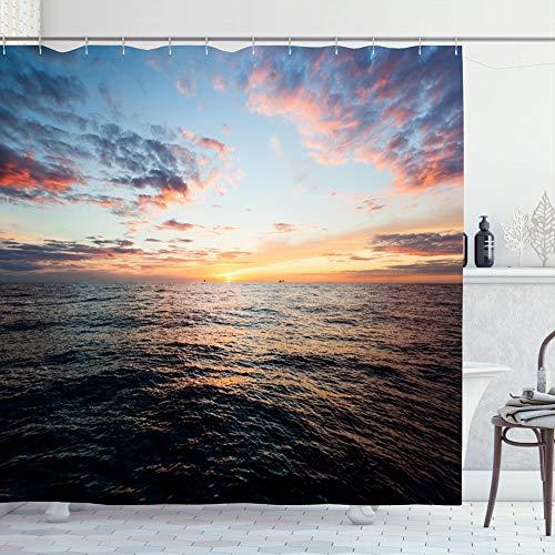 Ahawoso Shower Curtain Set with Hooks 72x72 Sunrise Sunny Nobody Sunset Over -