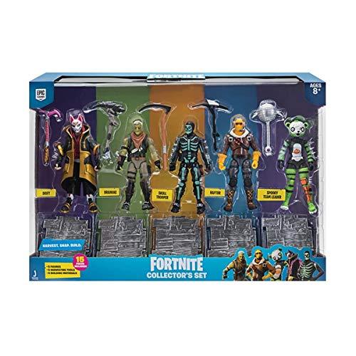 Fortnite Action Figures 15 Piece Collectors Set - 5 Character Figures, 5 Harvest Tools, 5 Building Materials - Spooky Team Leader, Raptor, Skull Trooper, Brainiac, and Drift