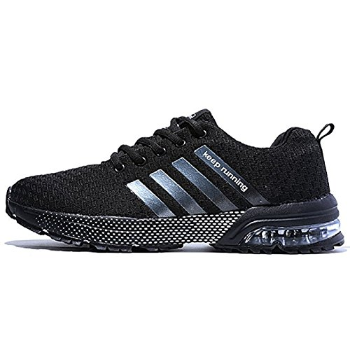 Ahico Men's Running Shoes - Air Cushion Fashion Breathable Lightweight Man Sneakers Cross Training Athletic Walking Shoe Mans Black Size 9.5