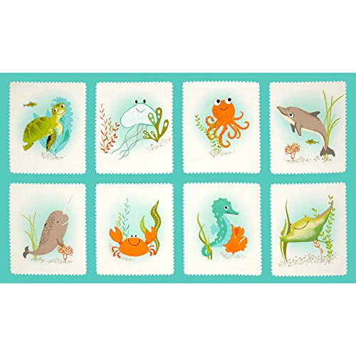 24' Life (Kaufman Aquatic Friends Sea Life Blocks 24'' Panel Ocean Fabric)
