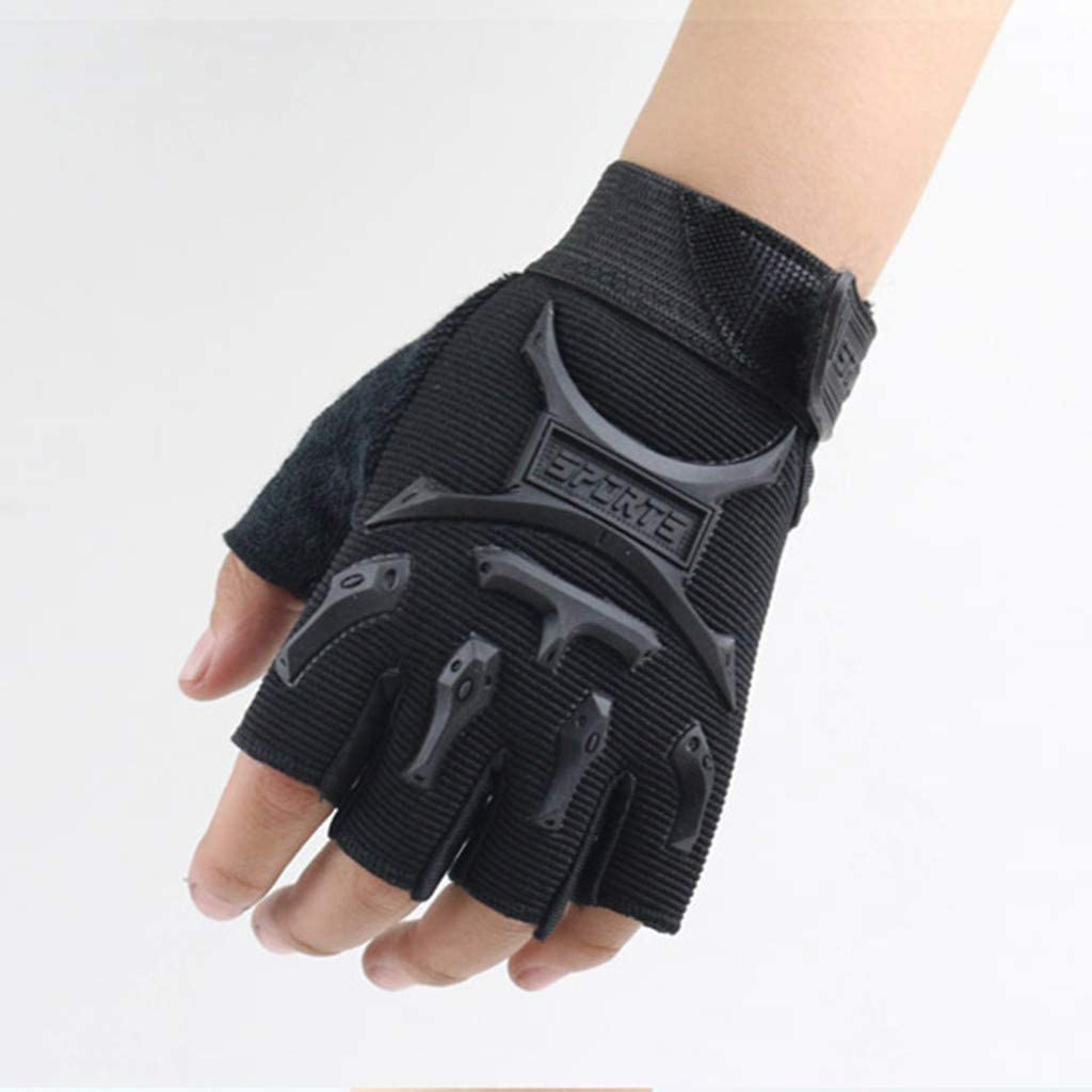 Black,Medium FunDiscount Kids Boy Girl Hard Knuckle Training Gloves with Wrist Support Short No-Slip Pro Cycling Gloves Mitten for Kids 4-10 Years Children Half Finger Fingerless Short Gloves