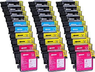 30 Pack Compatible with Brother LC-61 , LC-65 12 Black, 6 Cyan, 6 Magenta, 6 Yellow for use with Brother DCP-165C, DCP-375CW, DCP-385C, DCP-395CN, DCP-585CW, DCP-J125, DCP-J140W, MFC-250C, MFC-255CW, MFC-290C, MFC-295CN, MFC-490CW, MFC-495CW, MFC-5490CN,