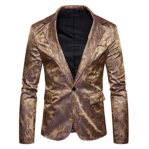 WEEN CHARM Men's Suit Jacket One Button Business Floral Slim Fit Suit Coat Tops -