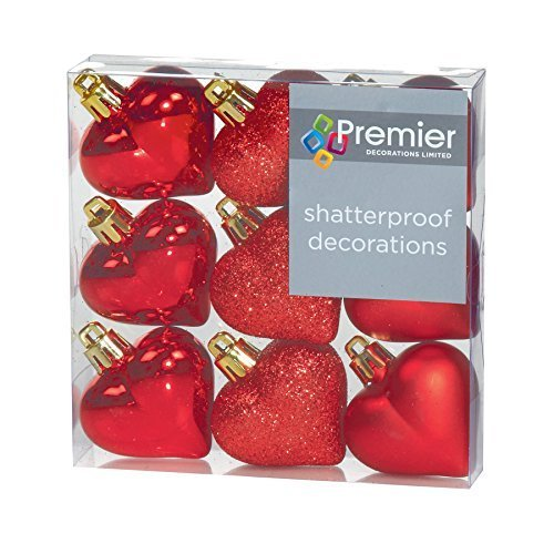 Christmas Decorations 9 Pack 40mm Multi Finish Heart baubles - ()